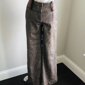 Bebe Brown Wool Wide Leg Trouser Pant Size 4
